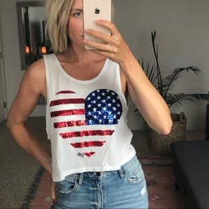 PINK sequin summer crop tank 4th of July